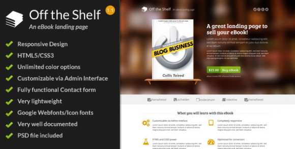 Off The Shelf Responsive Ebook Landing Page