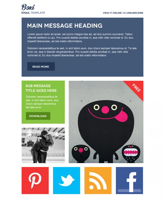 Boxi HTML Email Template Beautiful Email Newsletters - Cool html email templates