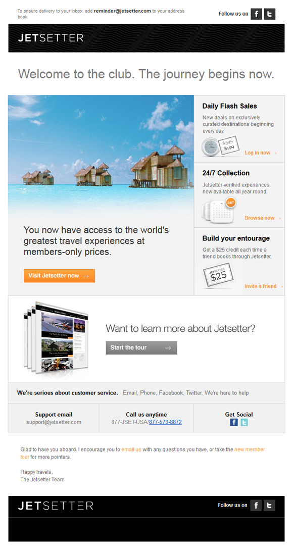 Jetsetter welcome email